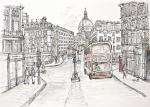 Ludgate Circus [ pencil, ink and wash on paper- A3 size. Original available ]