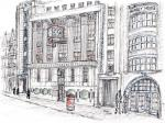 Telegraph Building in Fleet Street [ pencil, ink and wash on paper- A4 size, original in private collection ]