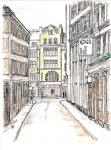 Whitefriars Street, leading to Fleet Street [ ink and wash on paper, A4 size- private collection ]