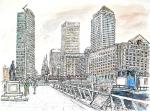 Canary Wharf Canal [ pencil, ink & wash- A3 size, original available ]
