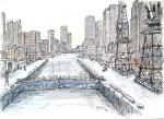 Canary Wharf east canal  [ pencil, ink and wash - A3 size, original available ]