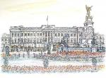Buckingham Palace in the spring [ pencil, ink & wash - A3 size, original available - Prints available from Saatchi On Line gallery – see HOME page ]