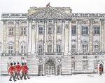 Buckghingham Palace Guard [ pencil, ink & wash - A4+ , original available - Prints available from Saatchi On Line gallery – see HOME page ]