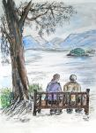 Derwent Water bench with couple [ ink with watercolour drawing- A4 size, original available ]