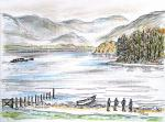 Derwent Water View - A [ pencil, ink and watercolour - A4 size, original available ]