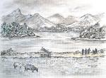 Derwent Water View - C [ pen and ink with wash - A4 size, original available ]