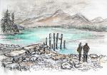 Derwent Water View - D [ pen and ink with wash - A4 size, original available ]