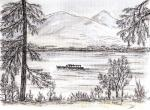 Derwent Water View - F [ pen and ink wash - A4 size, original available ]