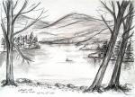 Esthwaite Water [ pencils and crayon wash - A4 size, original available ]