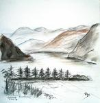 Ennerdale view from top [ pencils, ink and wash - 28 x 28cm, original available ]