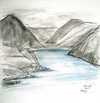 Wast Water View [ crayons and pencil wash - 28 x 28cm, original available ]
