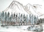 Mountains around Banff, Canada [ pencils and ink with wash - A4 size, original available ]