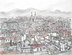 Panoramic View of Nicosia- the divided City [ pencil, pen and ink with wash - A3 size, original available ]