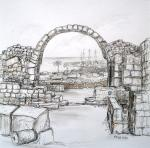 Paphos Byzantine Castle [ pencil, pen and ink with wash - 17 x 17cm, original available ]