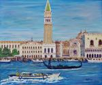 Venice Canal & St Marks [ oil on canvas ]