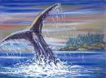 Whale Splash in W.Canada [ oil on canvas board ]