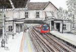Totteridge Tube Station [ Near end of the Northen Line. Pen and ink with wash on watercolour paper.  ]