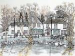 Orange Tree Pub [ A famous landmark in Totteridge Lane. Pen and ink, pencil and wash on watercolour paper ]