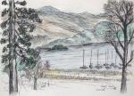 Derwent Water View 2 [ Another view of the lake from the Derwent Water Hotel. Pencil, pen and ink and watercolour. ]