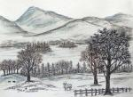 Derwent Water, View from West [ A panoramic view of the Lake from the western side towards east. Pen & ink with wash. ]