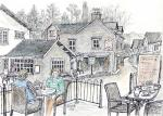 Grasmere Village 1 [ Sitting at the cafe watching the world go by. Ink, pencil and wash. ]