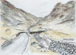 Honister Pass -3 [ A long way down with panoramic views. Pen and ink with pencil and watercolour. ]