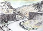 Honister Pass -1 [ View from the top by the station-cafe-shop, Weather can change suddenly and without warning.  Pencil, ink and wash. ]