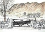 Keswick Farm [ This is typical of the whole Cumbrian scenery. Pen and Ink with wash. ]