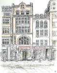 Fleet Street shops [ pencil, ink and wash on paper- A4 original available ]