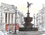 Eros at Piccadilly [ pen and ink with wash - A4+ size, original available  - Prints available from Saatchi On Line gallery – see HOME page ]