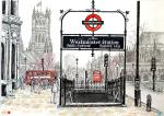 Westminster Scene [ Houses of Parliament in backround and the entrance to the Underground station,,,
