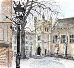 Temple Hall square [ In Middle Temple, Ink, pencil and watercolour ]